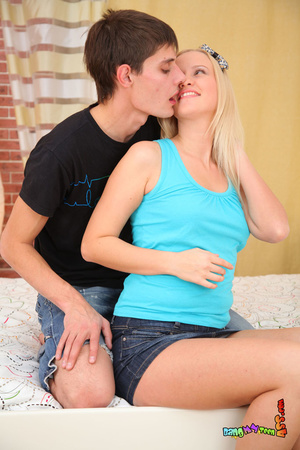 Enchanting slut in a blue shirt and denim skirt takes a meat stick in the back. - XXXonXXX - Pic 6