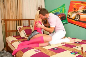 Attractive coquette in a white top and pink socks gets her ass drilled in bed. - XXXonXXX - Pic 2