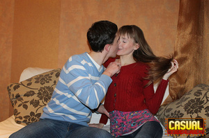Perfect slim cat in a red sweater and jeans sits on her guy's pole on the sofa. - XXXonXXX - Pic 1