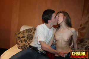 Perfect slim cat in a red sweater and jeans sits on her guy's pole on the sofa. - XXXonXXX - Pic 6