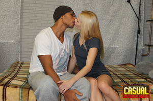 Sensational strumpet in a blue top and denim skirt gets some black dick in bed. - XXXonXXX - Pic 2