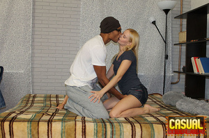 Sensational strumpet in a blue top and denim skirt gets some black dick in bed. - XXXonXXX - Pic 3