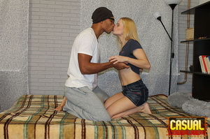 Sensational strumpet in a blue top and denim skirt gets some black dick in bed. - XXXonXXX - Pic 4