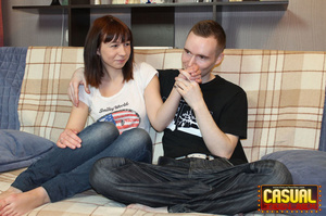 Remarkable nymph in a white shirt and jeans gets her pussy jammed with a cock on the sofa. - XXXonXXX - Pic 1