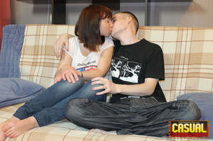 Remarkable nymph in a white shirt and jeans gets her pussy jammed with a cock on the sofa. - XXXonXXX - Pic 2