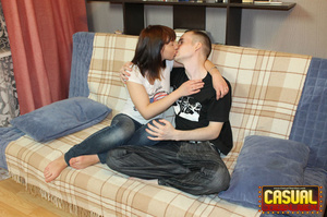 Remarkable nymph in a white shirt and jeans gets her pussy jammed with a cock on the sofa. - XXXonXXX - Pic 3