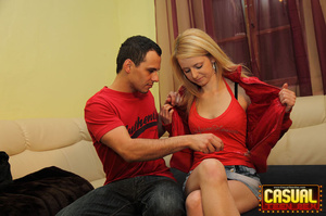 Flawless tart in a red jacket and sneakers gets some doggy in the bedroom. - XXXonXXX - Pic 5
