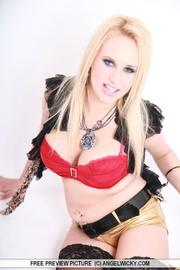 lovely blondie posing red
