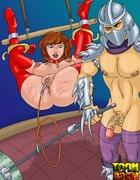 Kinky Shredder punishes bondage April O'Neil