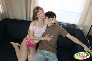 Fair-haired freshie in pink undies jumping on a dick after having blown it - XXXonXXX - Pic 3