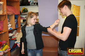 Slutty teen in a grey T-shirt and hair band fucking with her BF - XXXonXXX - Pic 1