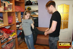 Slutty teen in a grey T-shirt and hair band fucking with her BF - XXXonXXX - Pic 2