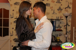 Slim brunette teen in a nice suit giving head before spreading legs for a cock - XXXonXXX - Pic 3