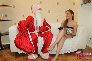 Brunette teeny in a ponytail gets her asshole slammed with Santa's thick dick - XXXonXXX - Pic 5