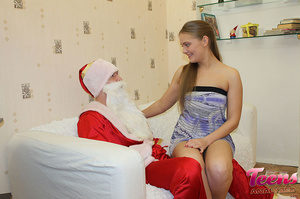 Brunette teeny in a ponytail gets her asshole slammed with Santa's thick dick - XXXonXXX - Pic 6