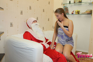 Brunette teeny in a ponytail gets her asshole slammed with Santa's thick dick - XXXonXXX - Pic 7