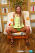 Glamorous nymph in sheer green panties does a…