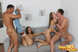Two couples undress before testing the sturdiness of a couch in multi partner-switching positions. - XXXonXXX - Pic 10