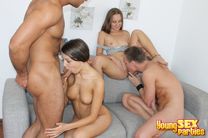 Two couples undress before testing the sturdiness of a couch in multi partner-switching positions. - XXXonXXX - Pic 11