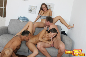 Two couples undress before testing the sturdiness of a couch in multi partner-switching positions. - XXXonXXX - Pic 12