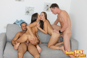 Two couples undress before testing the sturdiness of a couch in multi partner-switching positions. - XXXonXXX - Pic 13