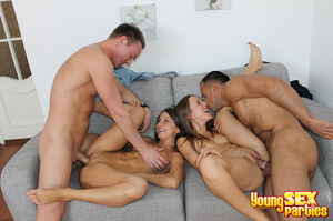 Two couples undress before testing the sturdiness of a couch in multi partner-switching positions. - XXXonXXX - Pic 14