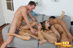 Two couples undress before testing the sturdiness of a couch in multi partner-switching positions. - XXXonXXX - Pic 15