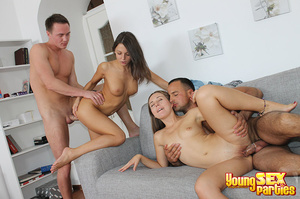 Two couples undress before testing the sturdiness of a couch in multi partner-switching positions. - XXXonXXX - Pic 16