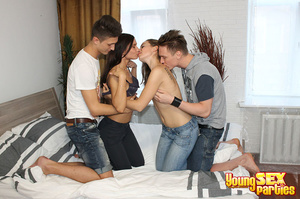 Two sluts enjoy kissing each other when being drilled from behind by two guys tag-teaming the girls. - XXXonXXX - Pic 4