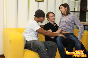 Captivating brunette services two studs when getting all three of her holes filled with peen. - XXXonXXX - Pic 4