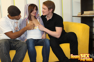 Captivating brunette services two studs when getting all three of her holes filled with peen. - XXXonXXX - Pic 6