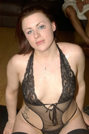 Hot redhead posing in black lingerie and fishnet stockings on a black matress grabs multiple dicks and sucks them then lets them spray jizz in her mouth. - XXXonXXX - Pic 15