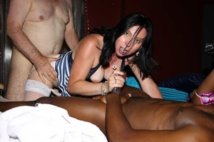 Sexy babe wearing blue and white stripe shirt and white stockings sucks a group of dicks while getting her ass and pussy fucked by interracial cocks til they blow jizz in her mouth on a cream bed. - XXXonXXX - Pic 4