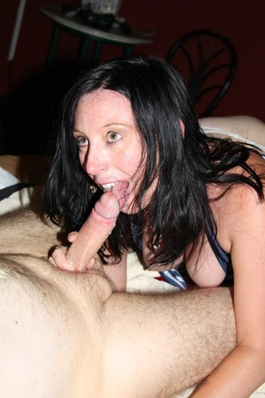 Sexy babe wearing blue and white stripe shirt and white stockings sucks a group of dicks while getting her ass and pussy fucked by interracial cocks til they blow jizz in her mouth on a cream bed. - XXXonXXX - Pic 14
