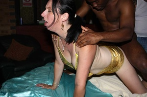 Hot chick wearing shiny gold lingerie lets a black dude suck her ass then fuck her from behind before she gets banged while sucking different dicks on a aqua blue bed. - XXXonXXX - Pic 2