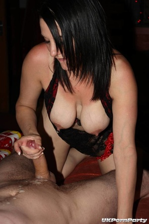 A sexy brunette wearing black laced nighty, a gorgeous babe wearing black and red underwear and a blonde hottie wearing blue fishnet blouse loves getting fucked together in different positions while eating multiple dicks in the same room. - XXXonXXX - Pic 14
