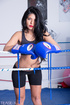 Bodacious sweaty brunette boxer is undressing on…
