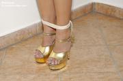 refined gal gold heels