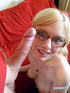 Cute, topless blonde with glasses gets busy…
