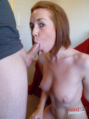 Sexy ginger sheds her elegant panties before giving head to a guy in thick-rimmed glasses. - XXXonXXX - Pic 10