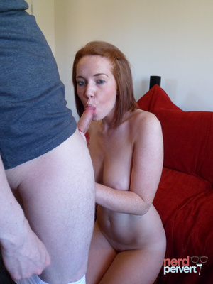 Sexy ginger sheds her elegant panties before giving head to a guy in thick-rimmed glasses. - XXXonXXX - Pic 11