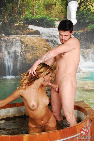 Small shemale with slender shaft gives and receives anal in spectacular waterfall whirlpool room. - XXXonXXX - Pic 2
