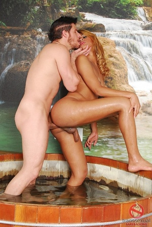 Small shemale with slender shaft gives and receives anal in spectacular waterfall whirlpool room. - XXXonXXX - Pic 5
