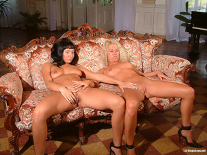 Two sluts on victorian sofa slide off feathered lingerie to play with twats. - XXXonXXX - Pic 10