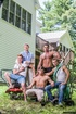 Group of five gorgeous guys take a break from yard…
