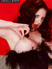 Smoking hot chick with furry brown corset and thong - Picture 9