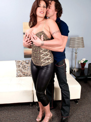 Luscious cougar lets her man squeeze her giant boobies - Picture 2