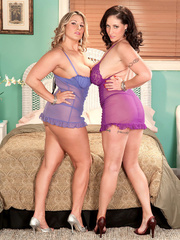 Busty brunette in purple and a blonde bombshell in - Picture 3