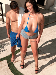 Busty cougar lets a young hunk squeeze her huge juggs - Picture 14
