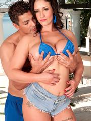 Busty cougar lets a young hunk squeeze her huge juggs - Picture 16